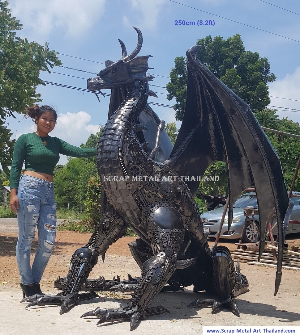 Dragon statue for sale, life size metal dragon sculpture - Metal Art from Thailand