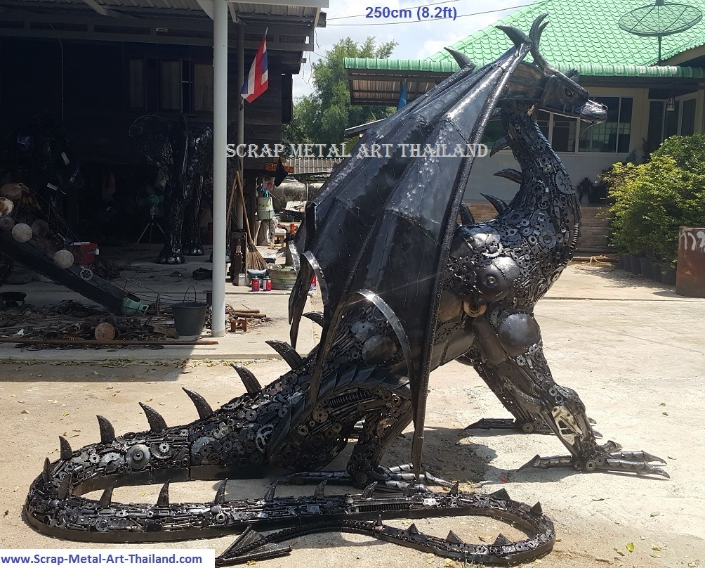 Dragon statue for sale, life size metal dragon sculpture, side view