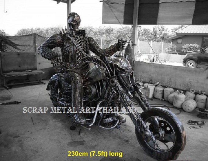 Ghostrider Hellbike - life size Superbike metal art from Thailand