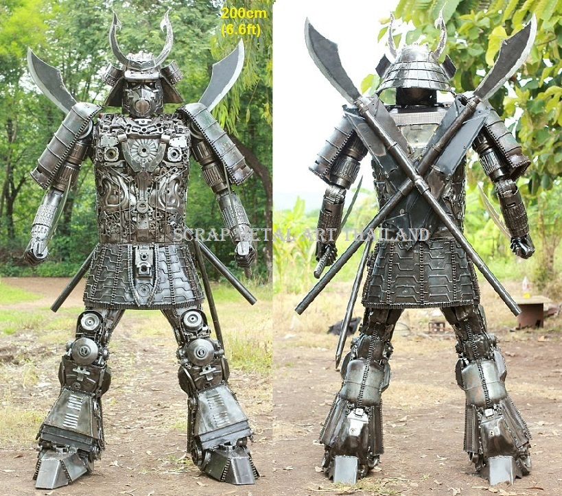 Samurai statue for sale, life size scrap metal Samurai sculpture from Thailand
