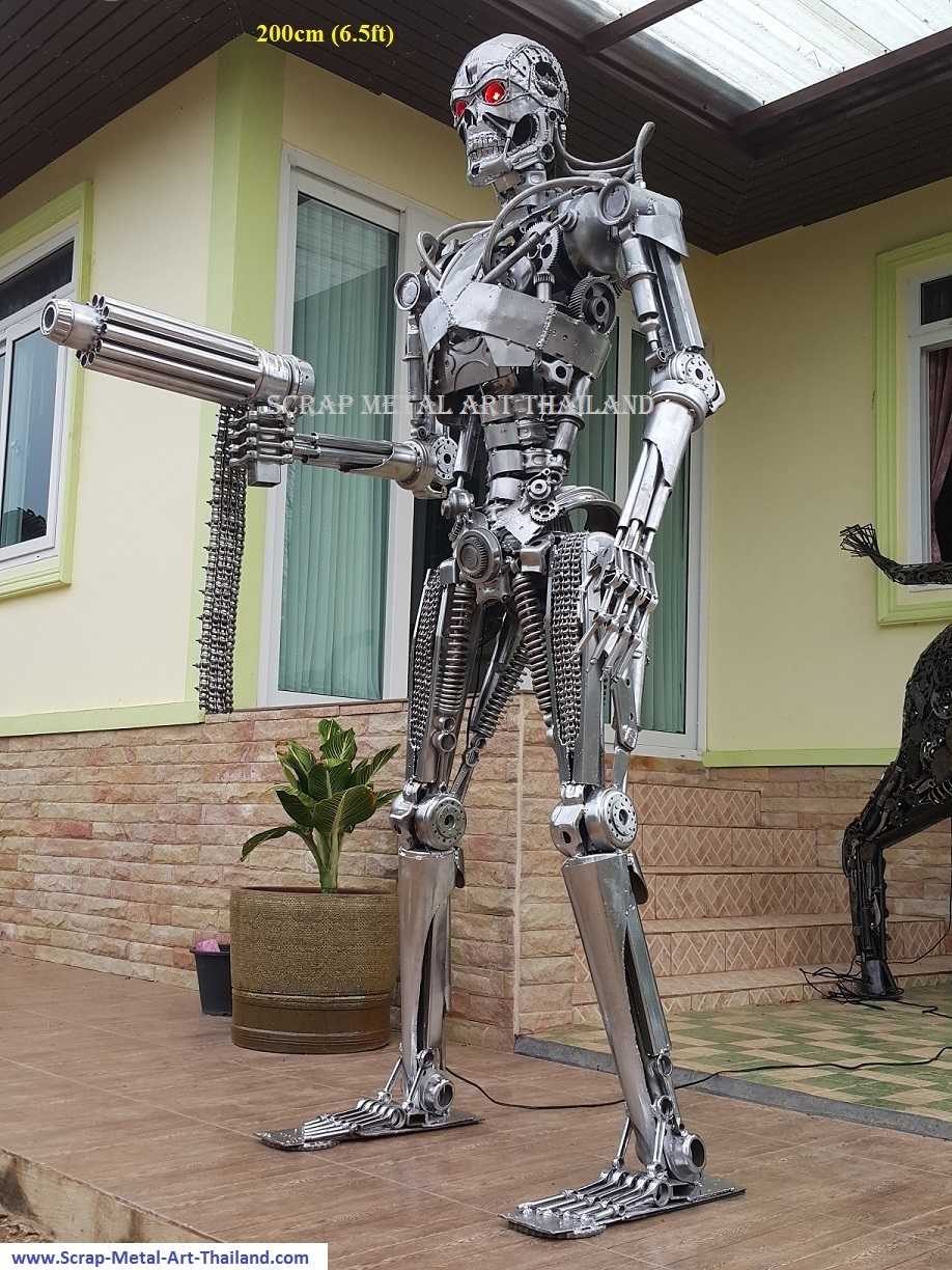 Terminator Genisys statue for sale, life size scrap metal Terminator sculpture from Thailand