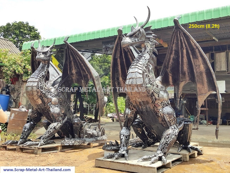 Twin Dragon statues for sale, life size metal dragon sculptures - Metal Art from Thailand