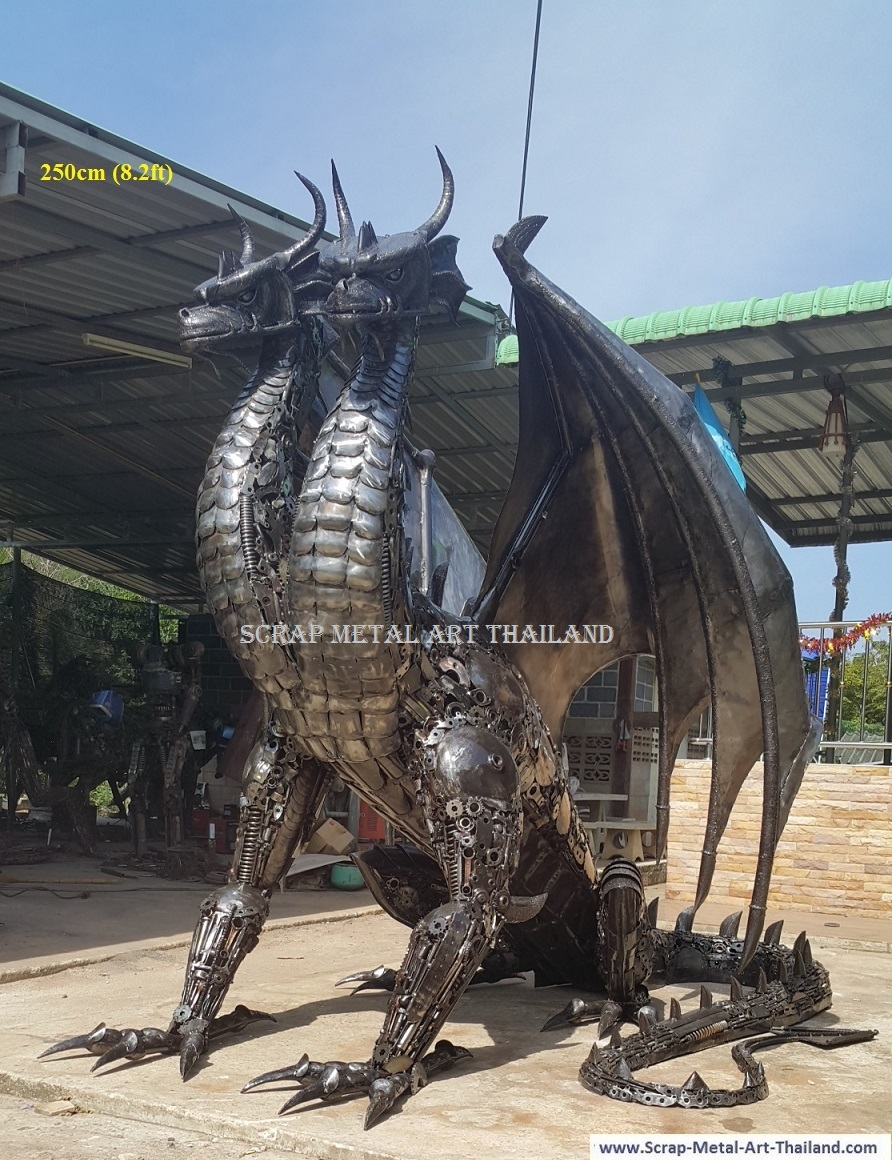 Two headed Dragon statue for sale, life size metal dragon sculpture from Thailand