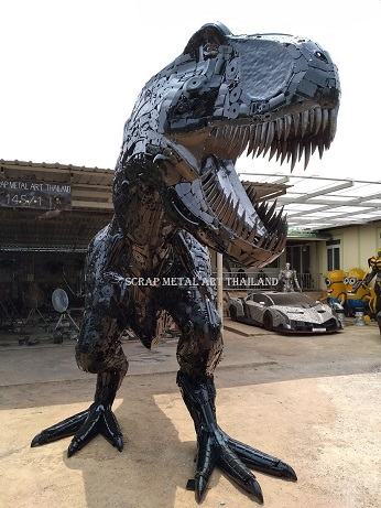 Dinosaur adult T-Rex statue for sale, life size metal Dino sculpture - Metal Art from Thailand