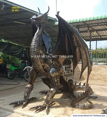 Dragon statue for sale, life size metal dragon sculpture, Scrap Metal Art made in Thailand