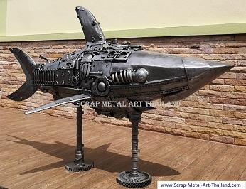 Steampunk Shark sculpture- Recycled Scrap Metal Art from Thailand